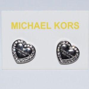 Michael Kors Silver pave heart earrings